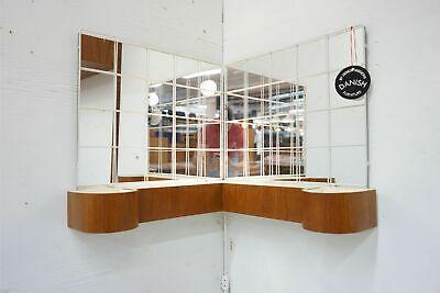 A Vintage Modern Vanity Made With Teak Metal & And Glass Mirror - (311-169)